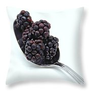 Spoonful Of Blackberries Throw Pillow