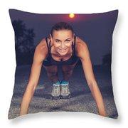 Sportive Woman Doing Pushups Outdoors Throw Pillow
