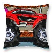 Sports Car Monster Truck Throw Pillow