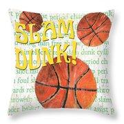 Sports Fan Basketball Throw Pillow by Debbie DeWitt
