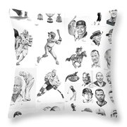 Sports Figures Collage Throw Pillow