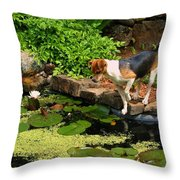Sporty At The Lily Pond Throw Pillow