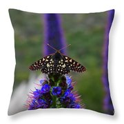 Spotted Moth On Purple Flowers Throw Pillow