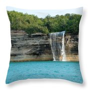 Spray Falls On The Water Throw Pillow