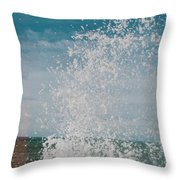 Spray In The Bay Throw Pillow