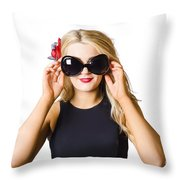 Spray Tan Girl Wearing Goggles. Tanning Beauty Throw Pillow