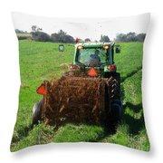 Spreading Manure Throw Pillow