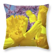 Spring Art Prints Yellow Daffodils Flowers Pink Blossoms Baslee Troutman Throw Pillow