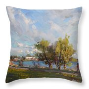 Spring At Gratwick Waterfront Park Throw Pillow