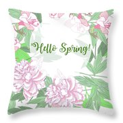 Spring  Background  With Pink Peonies And Flowers.  Throw Pillow
