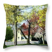 Spring Begins In The Suburbs Throw Pillow