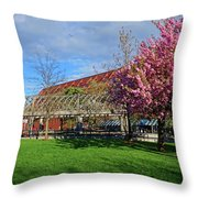 Spring Bloom At Christopher Columbus Park Boston Ma Cherry Blossoms Throw Pillow