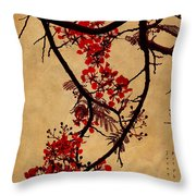 Spring Bloosom In Maldives. Flamboyant Tree I.  Japanese Style Throw Pillow