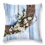 Spring Blossom Wreath Throw Pillow