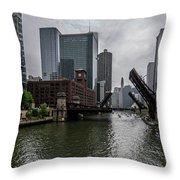Spring Bridge Lift Scene In Chicago  Throw Pillow