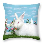 Spring Bunny Loves His Carrots Throw Pillow
