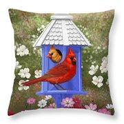 Spring Cardinals Throw Pillow