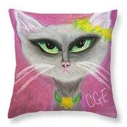 Spring Cat Throw Pillow