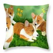 Spring Corgis Throw Pillow by Debbie LaFrance