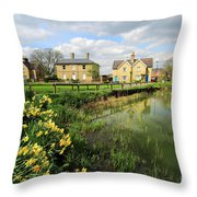 Spring Daffodils, Ramsey Village Pond, Cambridgeshire, England Throw Pillow