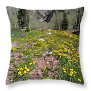 Spring Dandelion And Mountain Landscape Throw Pillow