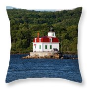 Spring Evening At Esopus Lighthouse Throw Pillow