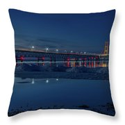 Spring Evening At The Mackinac Bridge Throw Pillow