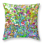 Spring Flower Bed Throw Pillow