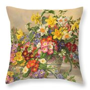 Spring Flowers And Poole Pottery Throw Pillow