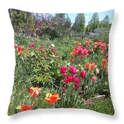 Spring Flowers In A Garden Throw Pillow