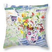Spring Flowers On The Island Throw Pillow