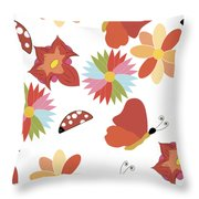 Spring Flowers Pattern Throw Pillow
