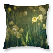 Spring Garden With Narcissus Flowers Throw Pillow