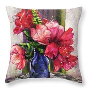 Spring In A Blue Bottle Throw Pillow