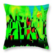 Spring In Digital Forest Throw Pillow