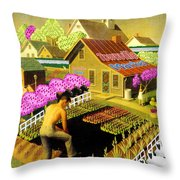 Spring In Townville Throw Pillow