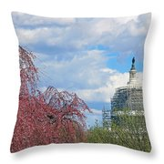 Spring In Washington And Dressed In Scaffolding Throw Pillow