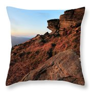 Spring Landscape, Gritstone Rock Formations, Stanage Edge Throw Pillow