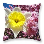 Spring Landscape Pink Tree Blossoms Yellow Daffodils Baslee Troutman Throw Pillow