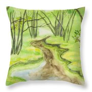 Spring Landscape, Watercolours Throw Pillow