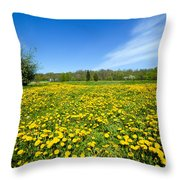 Spring Meadow Full Of Dandelions Flowers And Green Grass Throw Pillow
