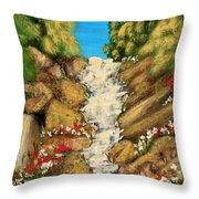 Spring Mountain Waterfall Throw Pillow