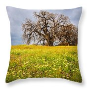 Spring Oak Tree And Wildflowers Throw Pillow