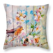 Spring On Wood 06 Throw Pillow