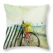 Bicycle Ride. Mayflower Storm. Throw Pillow