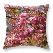Spring Pink Blossoms Throw Pillow