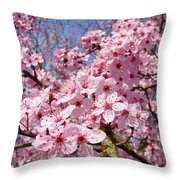 Spring Pink Tree Blossoms Art Print Baslee Troutman Throw Pillow