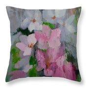 Spring Rain Oil Painting Throw Pillow