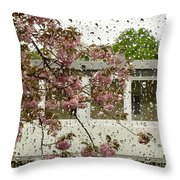 Spring Rain Outside The Window And Sakura Throw Pillow