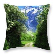 Spring Road To Mountains Throw Pillow